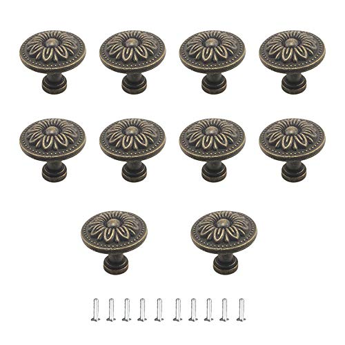 JINXM 10 Pcs Round Cupboard Handles Vintage Drawers Knobs for Chest of Drawers Kitchen Cabinet Cupboards