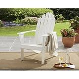 Mainstays Adirondack Chair White l 26.50 x 34.00 x 40.25 l Comfortable Wide Backrest