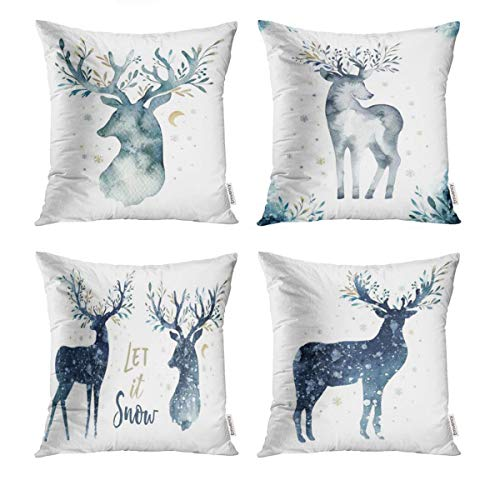 Semtomn Set of 4 Pillow Covers Decorative Cushion 18' x 18' Blue Watercolor Closeup Portrait of Cute Deer Christmas Snow Animal Polyester Home for Couch Car Bed