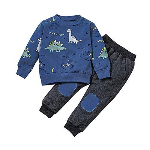 1-6 Años,SO-buts Niños Pequeños Bebés Dinosaurios De Dibujos Animados Camisetas Impresas Sudadera Pantalones Conjuntos Deportivos Chándal De Invierno (Azul,4-5 años)