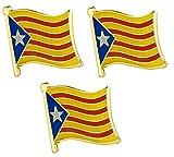 Pack de 3 x Insignias de Pin de Metal catalán de la Bandera de Cataluña