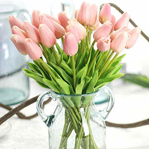 Kunstblumenstrauß aus Kunsttulpen aus Seide, fühlen sich echt an, für Hochzeiten, zu Hause, den Garten, Partys oder als Dekoration Love Pink