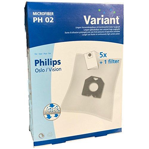 5 Staubsaugerbeutel Variant PH02 kompatibel mit Swirl PH84 geeignet für Philips T 519 topmatic deluxe