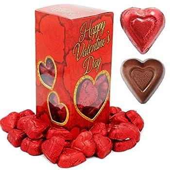 Valentine s Chocolate Hearts Milk Creamy Chocolaty Hearts Holiday Treats Individually Wrapped Foils Kosher Certified  Milk Chocolate Hearts 40 Count  1 Pound