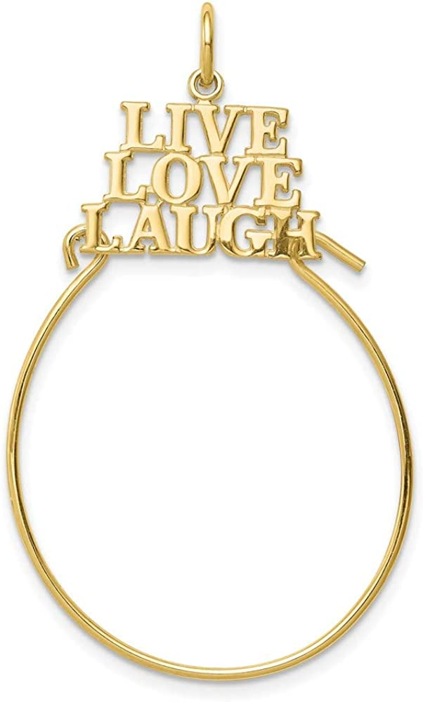 10k Yellow Gold Live Love Laugh Pendant Charm Necklace Holder Fine Jewelry For Women Gifts For Her