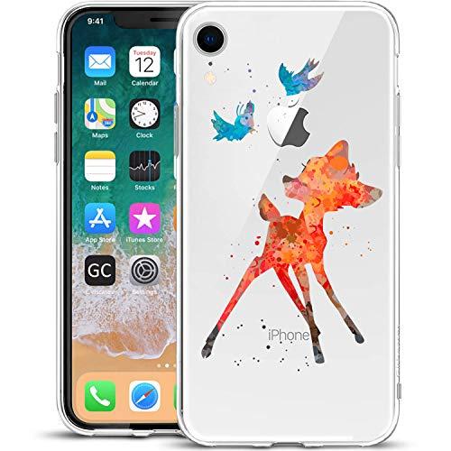 GIRLSCASES® | Hülle kompatibel für iPhone XR | Im REH/Rehkitz Motiv Muster | in bunt | Fashion Hülle durchsichtige Schutzhülle aus Silikon