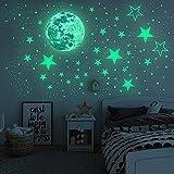 Lorcoo Luminoso Pegatinas de Pared, Luna y Estrellas que Brillan en la Oscuridad, Pegatinas pared Decorativas Infantiles (Estrella Luna Puntos)
