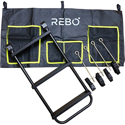Rebo Universal Trampoline Accessory Pack - Includes Anchor Kit (4 x Ground Anchor Screws/Pegs & 4 x Nylon Straps with Buckles), Universal Ladder & Shoe Bag With Accessory Pouch