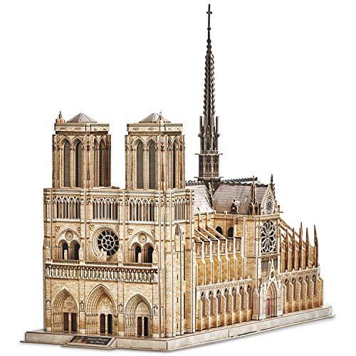 CubicFun 3D Puzzle Moveable Architecture Model Large Notre Dame de Paris French, Challenge for Adults Children, Cathedral Architecture Church Building Model Kits, 293 Pieces