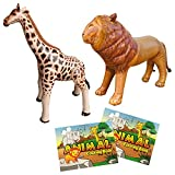 Jet Creations 4-pk Safari Animal Party Bundle Pack. Inflatable Lion, Giraffe, 2 Animal Theme Coloring Books. Party Supplies Favors Decorations Playdate Game After School. JC-SAFARI4A