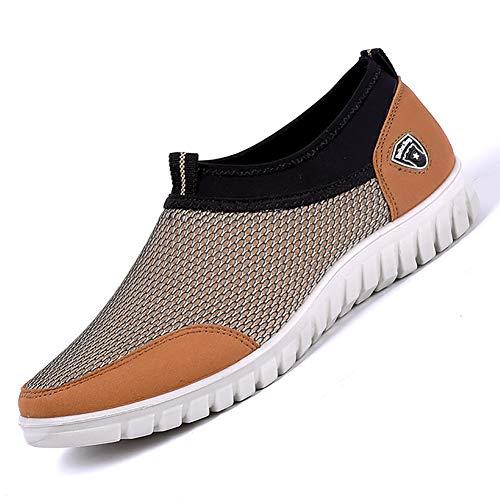 XIGUAFR Chaussure en Toile Respirant a Enfiler Souple Homme Basse Été Léger Chaussure de Marche au Loisir Basse Antidérapant Résistant à l'usure Beige 48