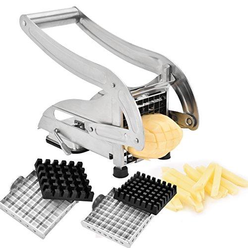Sopito Cortador de patatas fritas, Acero Inoxidable Cortador de Verduras Máquina con 2 Cuchillas Intercambiables y una Ventosa para Estabilidad