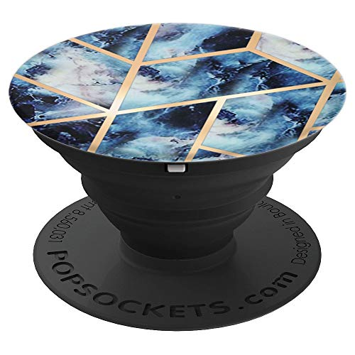Marbled Blue Golden Geometric Chic Design PopSockets Grip and Stand for Phones and Tablets