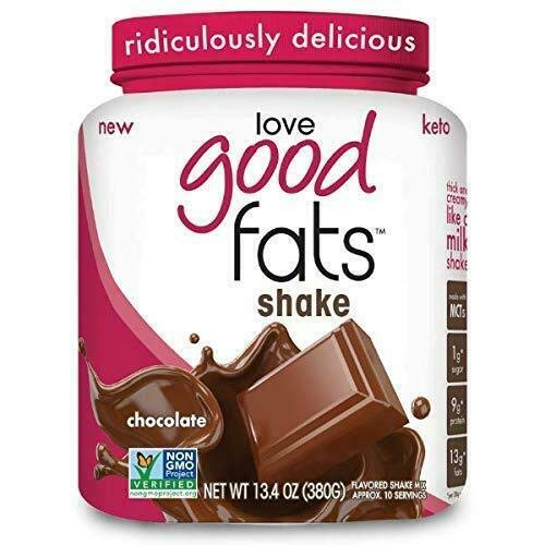 Love Good Fats - Chocolate Shake Keto Grass Fed Protein Powder with Mct Oil - Gluten-Free & Low Carb - Promotes Weight Loss & Suppresses Appetite Perfect for Ketogenic Diets - 13.4 Ounce (Pack of 1)