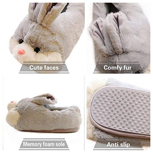 Product Image 4: Caramella Bubble Classic Bunny Slippers Cute Plush Animal Rabbit Slippers Christmas Slippers for Women Grey