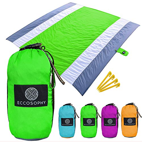 ECCOSOPHY Sand Proof Beach Blanket - Oversized Sand Free Beach Mat 9'x10' - Lightweight Outdoor Mat, Heat Resistant, Quick Drying & Compact - Outdoor Portable Blanket for Camping Picnics Hiking Travel