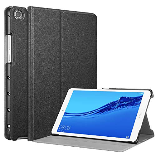 CASEBOT Case for Huawei MediaPad M5 Lite 8 Inch Tablet, [Slim Shell] Lightweight Multi-Angle Viewing Folio Cover, Black