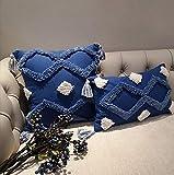 Mocofo Housse de coussin tissée à franges - Style bohème - Blanc crème, bleu 2, 45 x 45 Centimeters