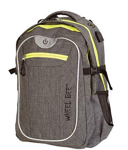 Wheel-Bee Rucksack Revolution, Design: Grey, mit integriertem LED Licht (grün) und Reflektorstreifen für Sicherheit und Sichtbarkeit, 30 Liter Volumen, viele Fächer, 950022