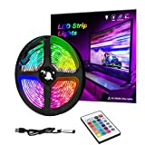 LED Strip Lights, LED TV Backlight, 6.56ft for 32-60in TV, 16 Colors & 24Key Wireless Remote Controller, USB Powered for TV Desktop PC