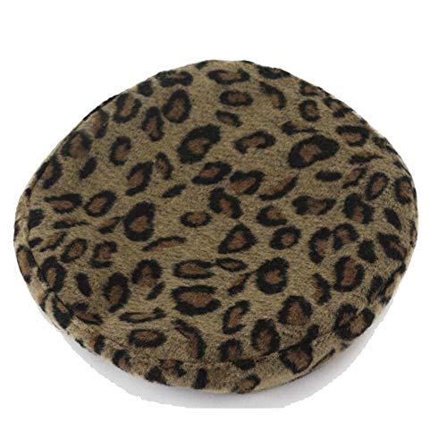 FDR Baskenmütze Damen Herbst/Winter Leopard Drucker Hut Wolle Wild Art Sweet Wool Cap IU (Color : 02, Size : 56-58cm)