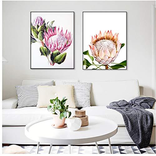 ASLKUYT König Protea Bloom Wandkunst Poster Moderne nordische Leinwand Malerei Poster und Drucke Bilder für Wohnzimmer Dekoration-20x28x2 Stück in keinem Rahmen