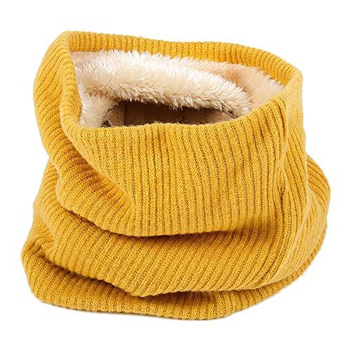 Emorias 1 Pcs Babero para Mujer Felpa A Prueba de Viento Pañuelo de Señora Mantener Caliente Espesar Tejida Bufanda - Amarillo