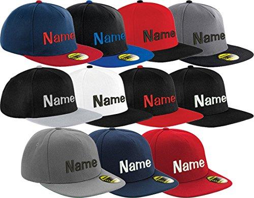 Nashville print factory Flat Peak Snapback Cap Bestickt mit Wunschtext Name Stickerei Wunschstickerei Mütze Basecap (Black/Black)