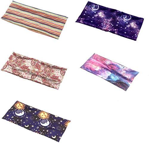 U/S 5 x Damen-Sport-Stirnband, elastisch, bedruckt, Laufen, breites Stirnband, Kopfband, Kopfband, All-Match-Kopfbedeckung