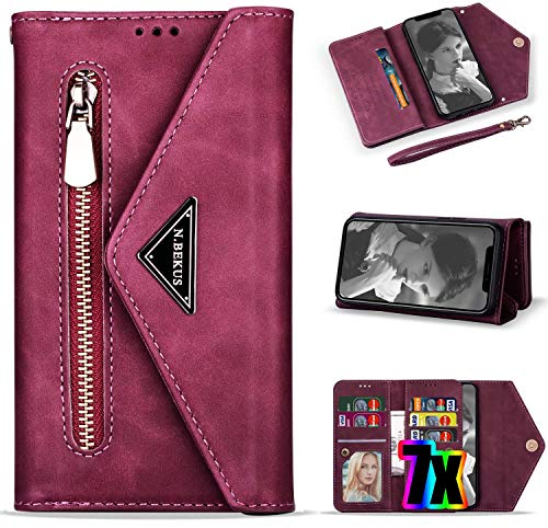 LG Stylo 5 Case Wallet,LG Stylo 5 Phone Case with Card Holder for Women,Vodico Leather Folio Flip Zipper Pocket Hand Clutch Purse Folding Magnetic Full Body Shockproof Stand Cover with Strap (Red)