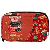 LORVIES - Bolsa de maquillaje para mujer (diseño de cerditos de cerdo, color rojo