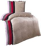 Kuscheli® Winter Wende Plüsch Bettwäsche 135 x 200 od. 155 x 220 mit 80x80 Kissenbezug Cashmere-Touch Coral Fleece Deckenbezug, Farbe:Taupe, Größe:135x200 + 80x80