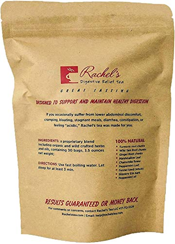Rachel Gas Relief Digestive tea | 30 Tea Bags | Caffeine free Herbal Tea for Upset Stomach, Inflammation, Bloat, Reflux, Heartburn, Regularity, Crohns, IBS, Colitis, Stress and Diverticulitis.