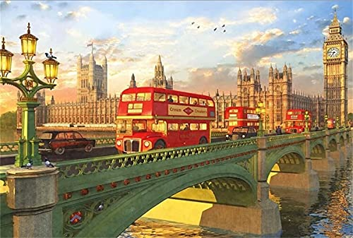 3000 Pieces Jigsaw Puzzle for Adults-3000 Piece -British Bus - Difficult Wooden Jigsaw Puzzles 3000 Pieces Challenging and Fun for Adults, Teens and Kids