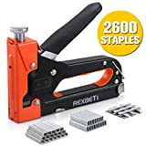 REXBETI Staple Gun, Heavy Duty 3 in 1 Staple Gun with 2600-Piece Staples for Upholstery, Fixing Material, Decoration, Carpentry, Furniture