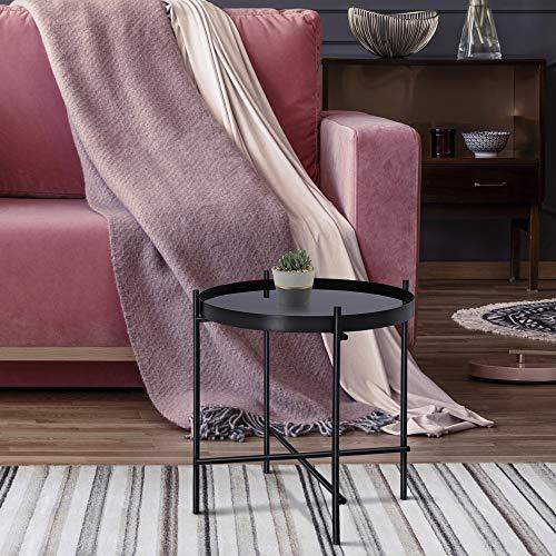 WOMO-DESIGN Design Beistelltisch Ø43x45cm in Schwarz aus Metall und Glas, Wohnzimmertisch mit Glasplatte und Metallgestell, Runder Couchtisch, Moderner Glastisch, Edler Sofatisch, Kleiner Lounge Tisch