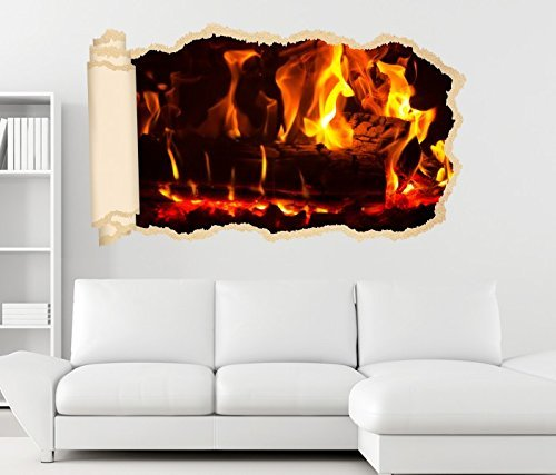 3D Wandtattoo Feuer Lagerfeuer Kamin Flamme Holz Tapete Wand Aufkleber Wanddurchbruch Deko Wandbild Wandsticker 11N1609, Wandbild Größe F:ca. 97cmx57cm