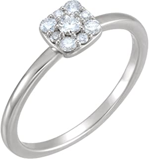 Diamond Stackable Square Cluster Ring, Sterling Silver (.25 Ctw, G-H Color, I1 Clarity)