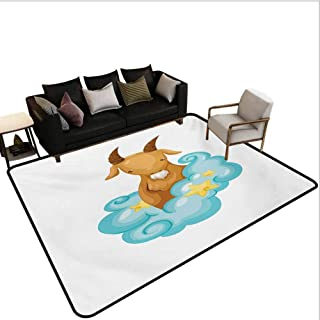 Zodiac Capricorn Bathroom Rugs Astrology Themed Cartoon Goat with Horns in The Clouds Outdoor Carpets Patio Pale Brown Pale Blue Yellow Area 4'x6'