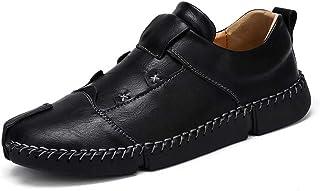 [hitstar] カジュアルシューズ ドライビングシューズ メンズ ビジネス革靴 ウォーキング レースアップシューズ 通勤用 防滑 通気性 ブラック ブラウン