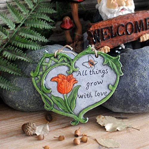 WANGJ Garden Ornaments Outdoor Garden Ornaments Heart Shaped Rustic Garden Wall Hanging Art Decoration Ornament Cement Plaque (Color : A)
