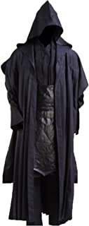 Cosplaysky Men's Halloween Costume Full Set Tunic Hooded Robe Black Outfit
