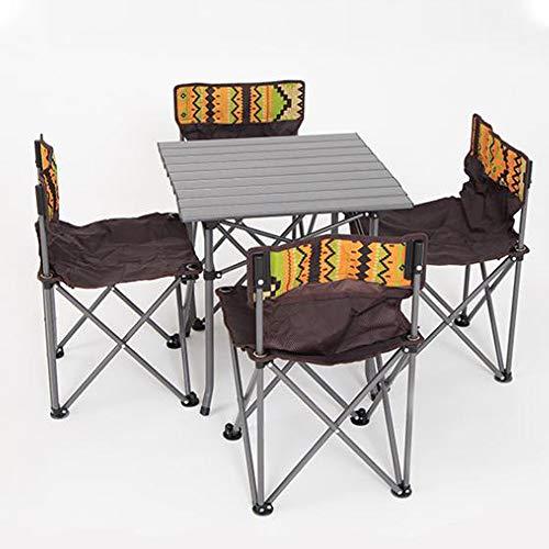ZTBXQ Muebles de Ocio Mesa de Camping portátil con 4 Asientos, pequeña...