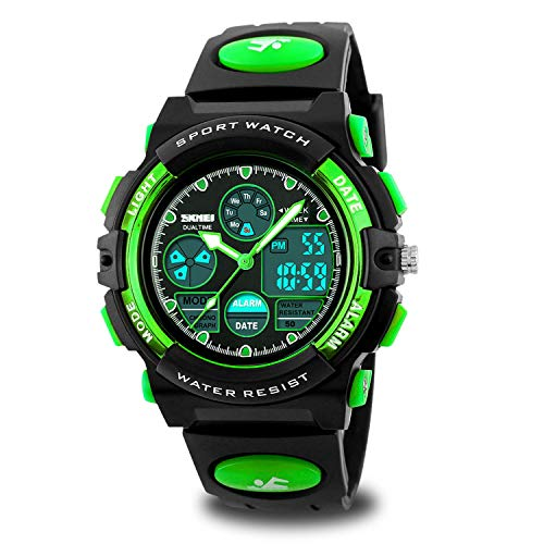 Boys Watches Ages 11-15 Waterproof, Kids Digital Sport Waterproof Watch for Kids Birthday Presents Green Gifts Toys Age 5-16 Teen Boys Girls Children Young Outdoor Electronic Watches Alarm Stopwatch