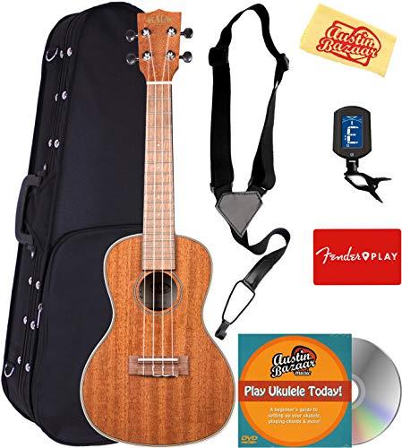 Kala KA-CG Glossed Mahogany Concert Ukulele Bundle with Hard Case, Tuner, Strap, Fender Play Online Lessons, Austin...