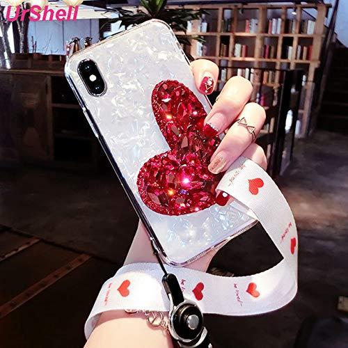 No brand beschermhoes voor iPhone 11 Pro Max 8 7 6S 6 Plus X XS Max XR cover met strass-steentjes voor iPhone 11 Pro met armband, Per iPhone XS, grande cuore