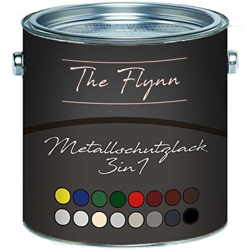 The Flynn Metallschutzfarbe 3 in 1 hochwertiger 3-in-1 Metallschutzlack Lack für Metall Eisen Aluminium Zink Stahl Rostschutz Grundierung Deckanstrich (1 L, Moosgrün (RAL 6005))