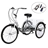 KUNS Adult Tricycle Trikes 7 Speed 3-Wheel Bikes,26 Inch Wheels Cruiser Bicycles with Large Shopping Basket