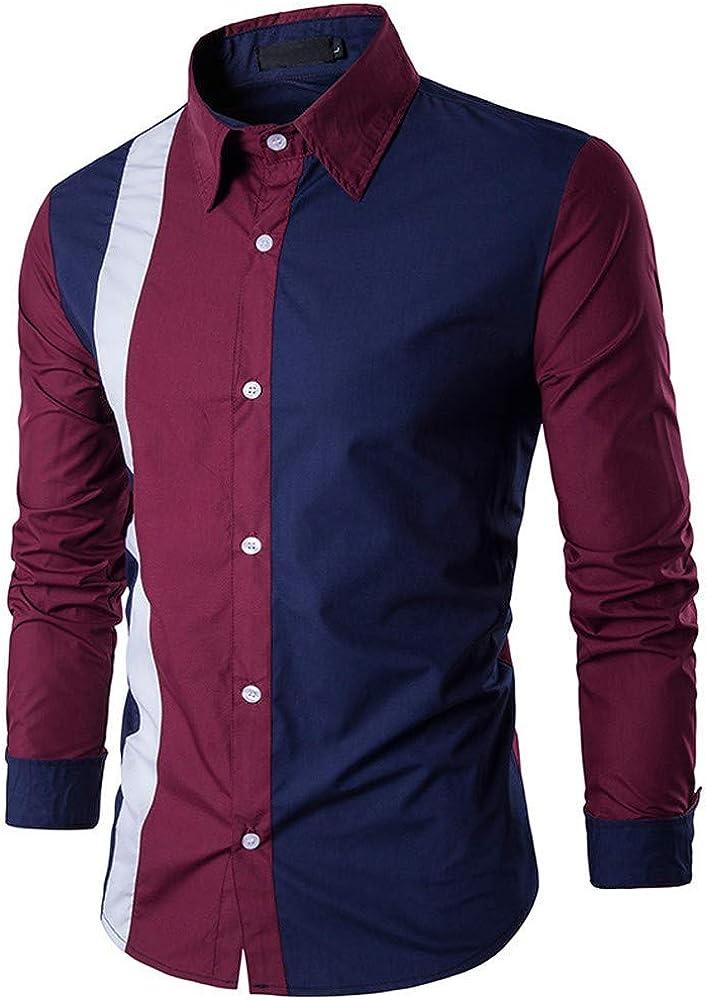 MODOQO Men's Long Sleeve Button Down Shirts Casual Slim Fit Top Blouse