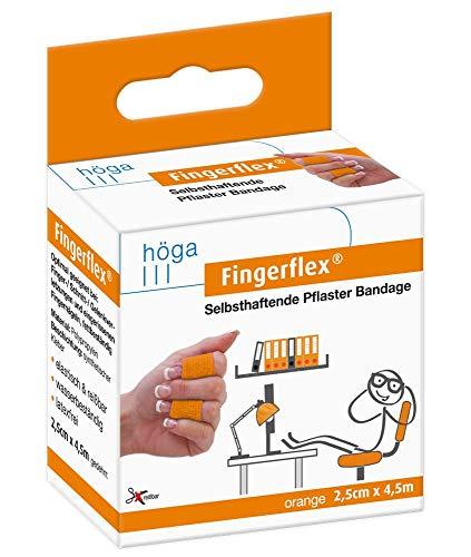 Fingerflex orange 2.5cm x 4.5m gedehnt selbsthaftende Pflaster Bandage elastisch & reißfest wasserbeständig latexfrei, 23 g 15571665